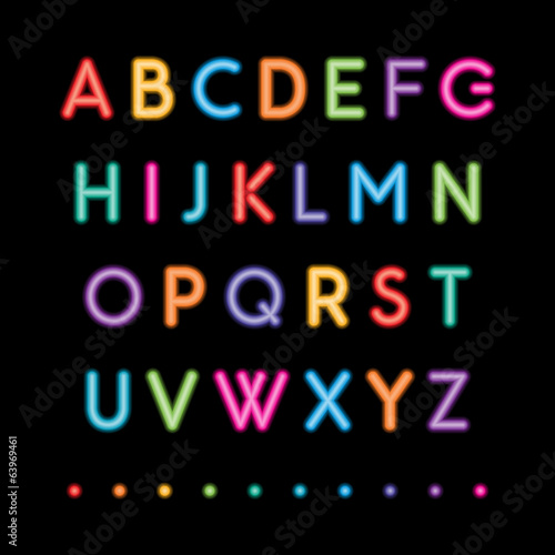 neon capital alphabets