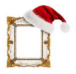 Santa Claus hat hung on the vintage frame