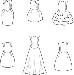 Vector illustration of women's dresses
