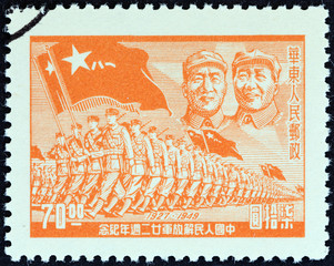 General Chu Teh, Mao Zedong and troops (China 1949)