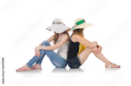 Women on holiday isolated on white