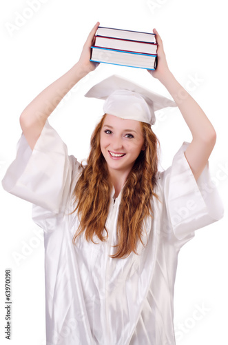 Graduate girl with books isolated on white
