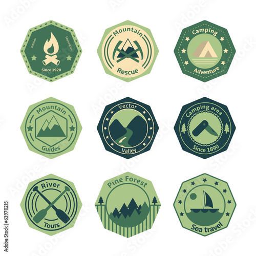 Outdoors tourism camping flat emblems