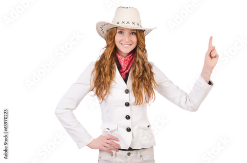 Young   thinking cowgirl isolated on white