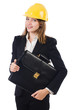 Pretty businesswoman with hard hat and portfolio  isolated on wh