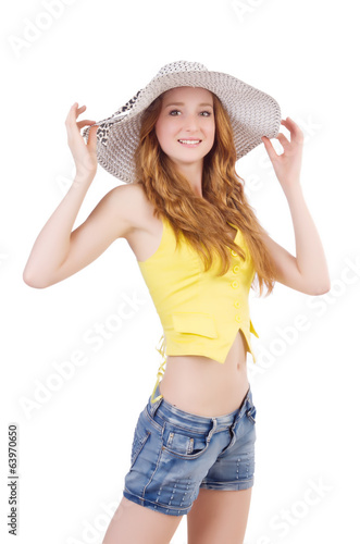 Young girl  with panama in fashion concepts siolated on white