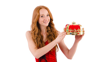 Redhead pretty girl in queen concept isolated on white