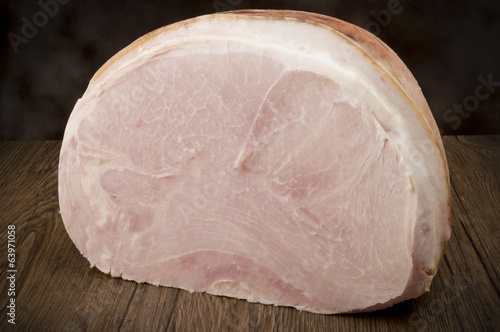 Ham close up on the wood table