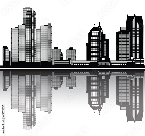detroit american city skyline