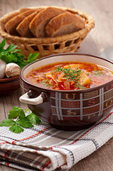 Ukrainian and russian national red soup borsch closeup