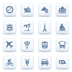 Travel blue icons on white buttons.
