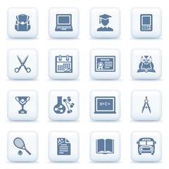 Education blue icons on white buttons.