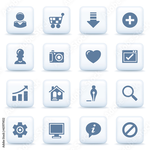 Basic blue icons on white buttons.