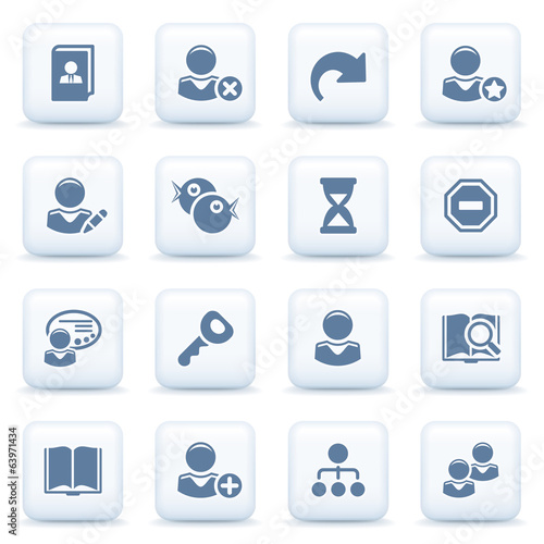 Users blue icons on white buttons.