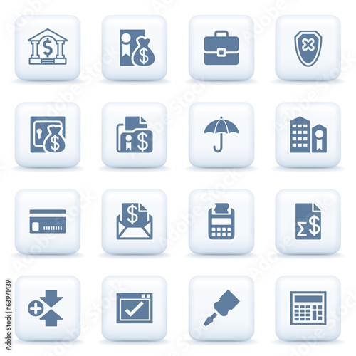 Banking blue icons on white buttons.