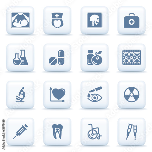Medicine blue icons on white buttons.