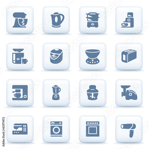 Home appliances blue icons on white buttons.