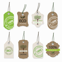 Organic eco natural label set.