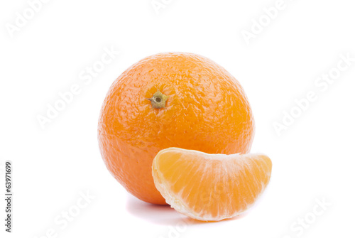 Tangerine isolated on white background.