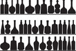 Set of bottles on shelves illustrated on white background