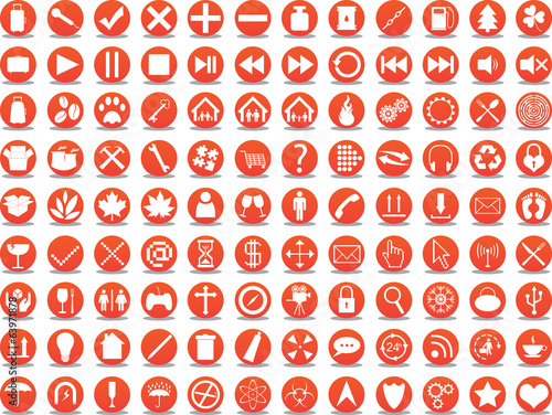 Orange icon collection illustrated on white