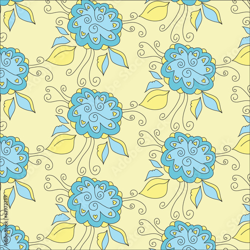 Floral Background.Seamless texture. Vector art