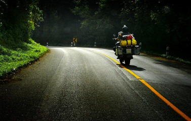 Touring by motorbike on the road