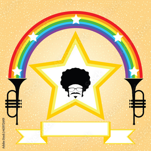afro man on the star with rainbow and trumpet