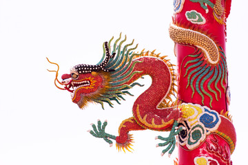 Chinese Dragon Wrapped around red pole on isolate background