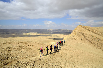 Hikers group in Negev desert.