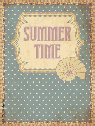 Summer time card with shell, vector illustration