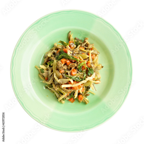 Oyster mushroom fried carrot vegan protein and basil isolated