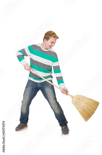Funny man with mop isolated on white