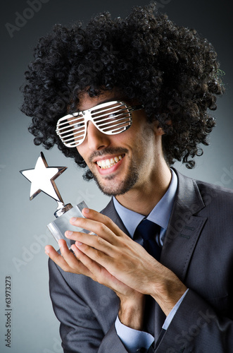 Man getting his star award