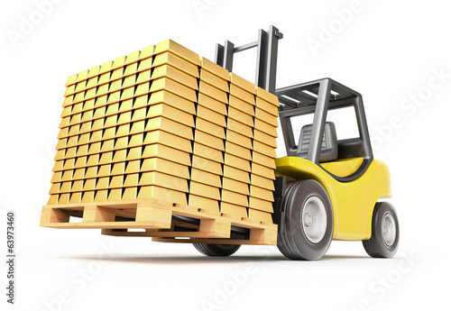 Forklift with gold bars