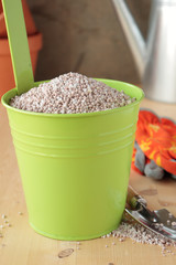 Fertilizer in metal container