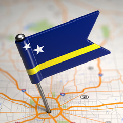 Curacao Small Flag on a Map Background.