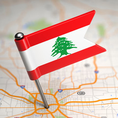Lebanon Small Flag on a Map Background.