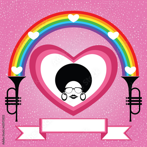 afro lady on the heart with rainbow and trumpet vector