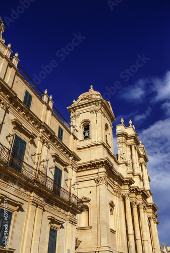 Italy, Sicily, Noto, baroque building and S. Nicolò Cathedral