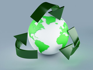 recycling symbol and green earth