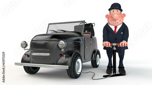 The 3D businessman pumps up a car wheel.