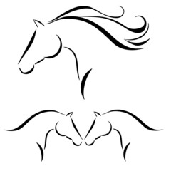 Horse head with flying mane vector