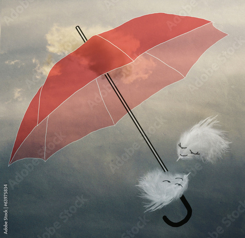 couple in love fluff flying in the sky under the umbrella