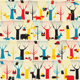 Wood Animals tapestry seamless pattern in modernistic colors poster