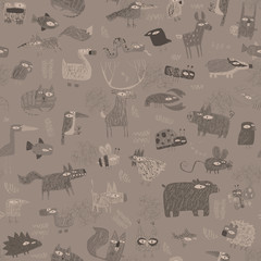 Animals tapestry seamless pattern in grey