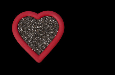 Heart Healthy Chia Seeds on Black