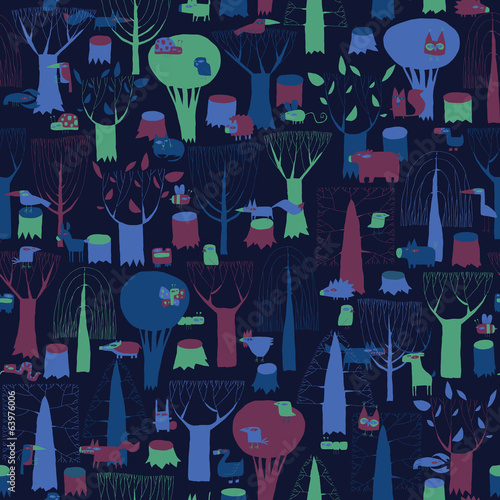 Wood Animals tapestry seamless pattern in dark colors