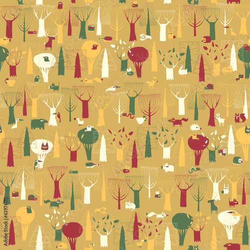Wood Animals tapestry seamless pattern in vintage colors