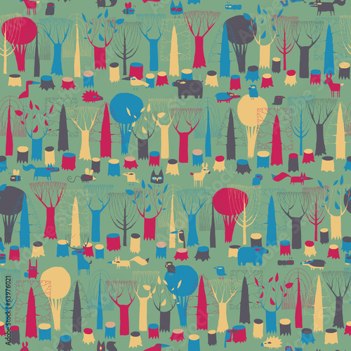 Wood Animals tapestry seamless pattern in magic colors